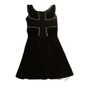 ALine Black Mesh Gold and Lycra Dress